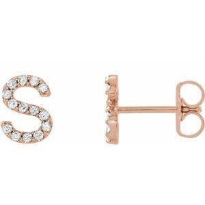 14K Rose .06 CTW Diamond Single Initial S Earring