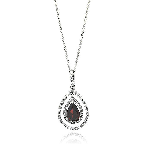 Open Teardrop Red Cubic Zirconia Sterling Silver Pendant Necklace