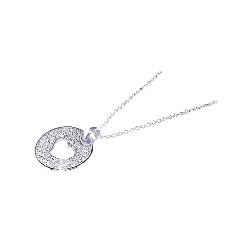 925 Rhodium Plated Open Heart CZ Inlay Dangling Necklace