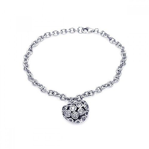 925 Rhodium Plated Clear CZ Heart Charm Bracelet