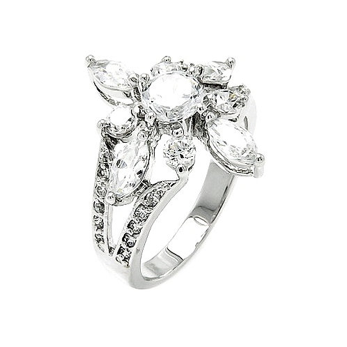 925 Rhodium Plated Clear Round and Marquise CZ Flower Ring
