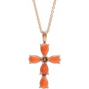 "14K Rose Cabochon Pink Coral Cross 16-18"" Necklace"