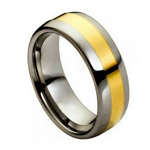 High Polished Yellow Gold IP Plated Shiny Center - 8mm