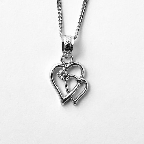 Double Hearts Pendant in 14k White Gold
