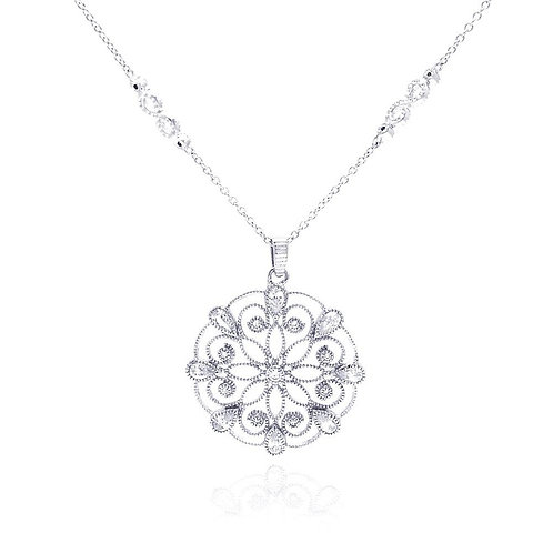 Open Flower Cubic Zirconia Sterling Silver Necklace