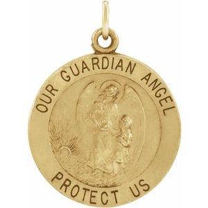 14K Yellow 18 mm Guardian Angel Medal