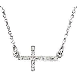 """14K White .07 CTW Diamond Sideways Cross 16-18"""" Necklace"""