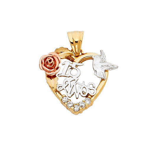 14K 3C CZ 15 YEARS HEART PENDANT
