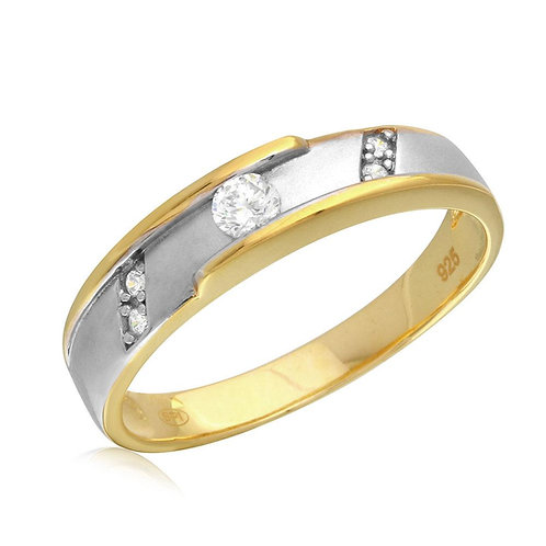 Mens Wedding Band Cubic Zirconia Sterling Silver Two Tone Gold Rhodium Plated