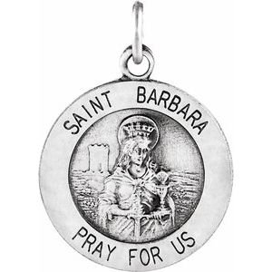 Sterling Silver 15 mm St. Barbara Medal