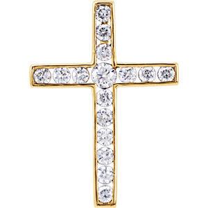 14K Yellow 1/3 CTW Diamond Cross Pendant