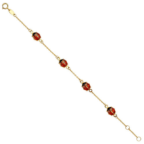 14KY Lady Bug Chain Baby Bracelet