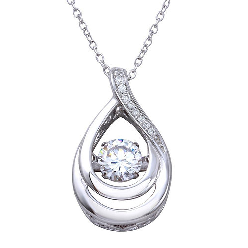 Dancing Cubic Zirconia in Center Sterling Silver Teardrop Necklace Pendant