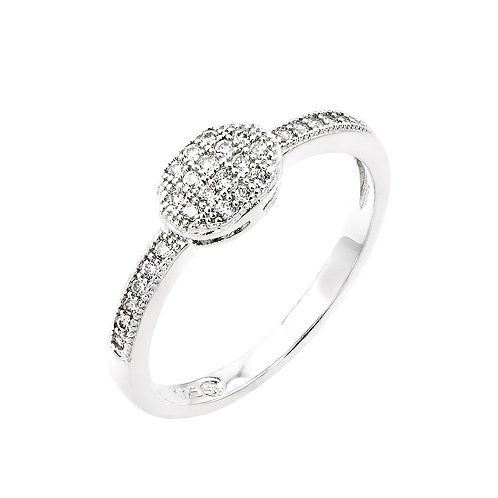 Oval Cubic Zirconia Sterling Silver Promises Ring