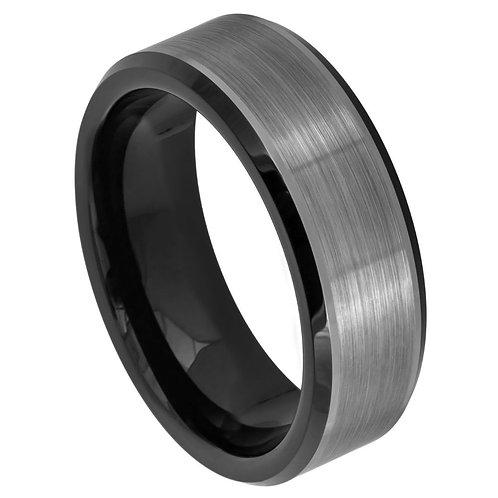 Two-tone Black IP Plated Brushed Center Beveled Edge - 8mm