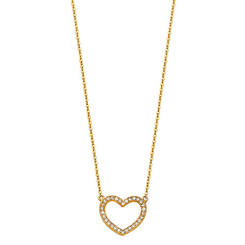 14K Gold Fancy Heart Necklace
