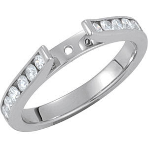 **18K White 1/2 CTW Diamond Semi-Set Engagement  Base