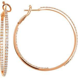14K Rose 2 CTW Diamond Inside-Outside 41 mm Hoop Earrings