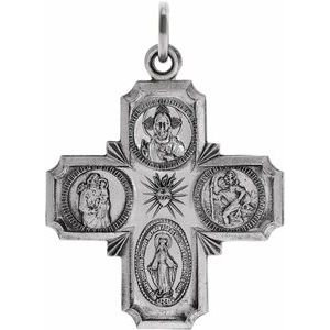 14K White 25x24 mm Four-Way Cross Medal