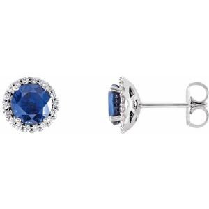 14K White Chatham® Lab-Created Blue Sapphire & 1/8 CTW Diamond Earrings