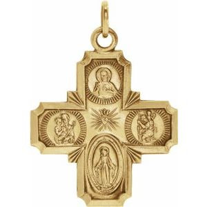 14K Yellow 18x18 mm Four-Way Cross Medal