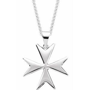 "Sterling Silver Maltese Cross 24"" Necklace"