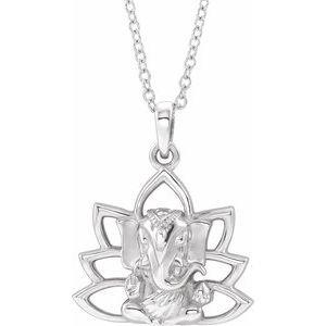"Sterling Silver Ganesha 16-18"" Necklace"