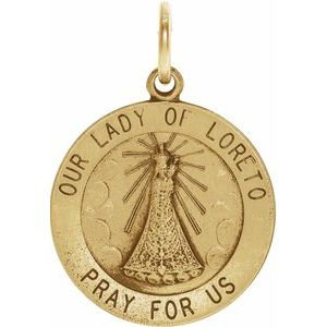 14K Yellow 18 mm Our Lady of Loreto Medal
