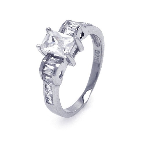 925 Rhodium Plated Rectangular Center Clear CZ Engagement Ring