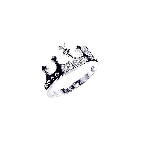 925 Rhodium Plated Black Enamel CZ Crown Ring
