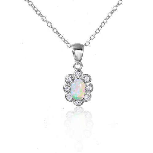 Synthetic Opal Cubic Zirconia Sterling Silver Flower Pendant Necklace