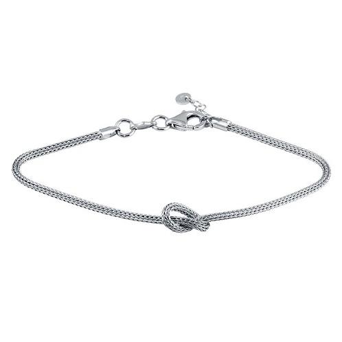 925 Rhodium Plated Knot Bracelet