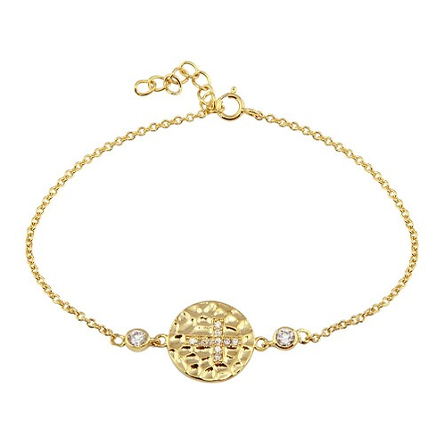925 Gold Plated Circle Cross CZ Inlay Bracelet
