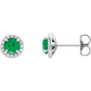 14K White 5 mm Round Chatham® Lab-Created Emerald & 1/8 CTW Diamond Earrings