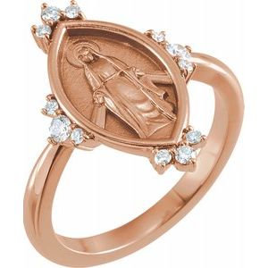14K Rose 1/5 CTW Diamond Miraculous Medal Ring