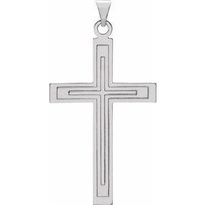 14K White 39x25 mm Cross Pendant