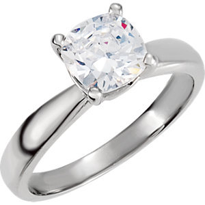 **10K White Cubic Zirconia Solitaire Engagement Ring