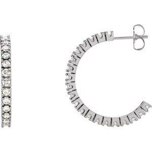 14K White 1 CTW Diamond Hoop Earrings