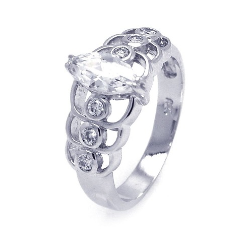925 Rhodium Plated Clear Marquise Center CZ Engagement Ring