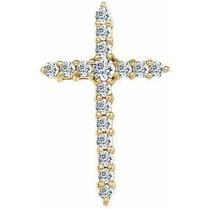14K Yellow Diamond Cross Pendant