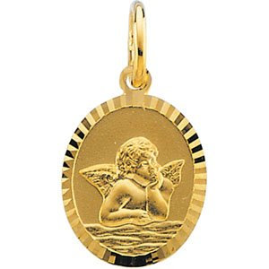 14K Yellow 11x9 mm Oval Cherub Angel Medal