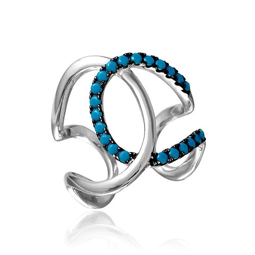 Turquoise Round Stone Sterling Silver Open Ended Interlock Ring