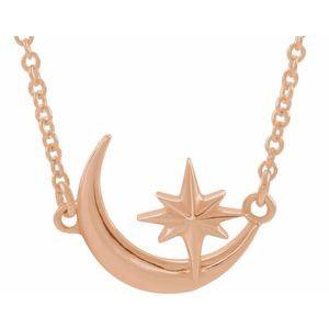 "14K Rose Crescent Moon & Star 16-18"" Necklace"