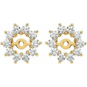 14K Yellow 5/8 CTW Diamond Earring Jackets with 3.7mm ID