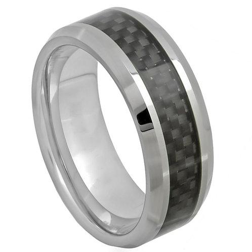 High Polish with Black Carbon Fiber Inlay - 8mm