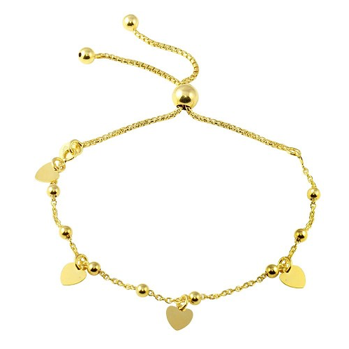 925 Gold Plated Box Chain Multi Heart and Bead Lariat Bracelet