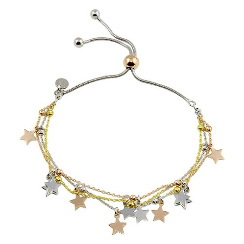 925 3 Toned Plated Multi Chain Star Beaded Lariat Bracelet