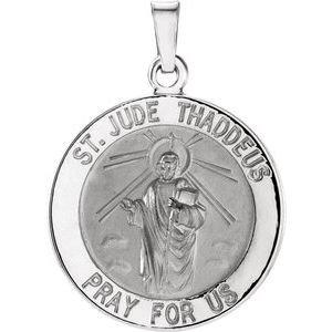 14K White 18 mm Round St. Jude Thaddeus Medal