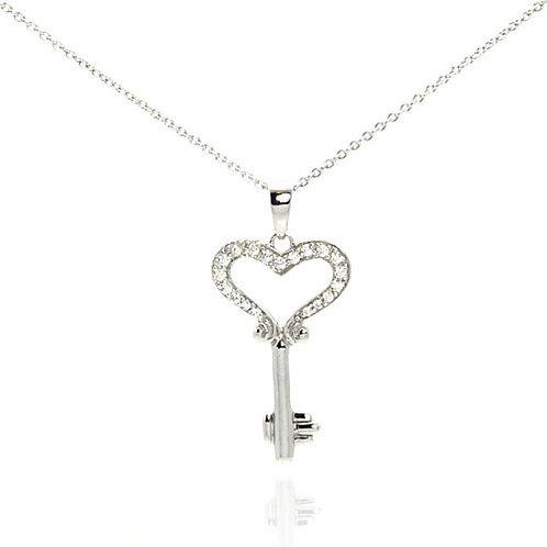 Key Heart Cubic Zirconia Sterling Silver Pendant