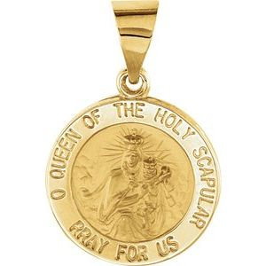 14K Yellow 15x15 mm Round Hollow Scapular Medal